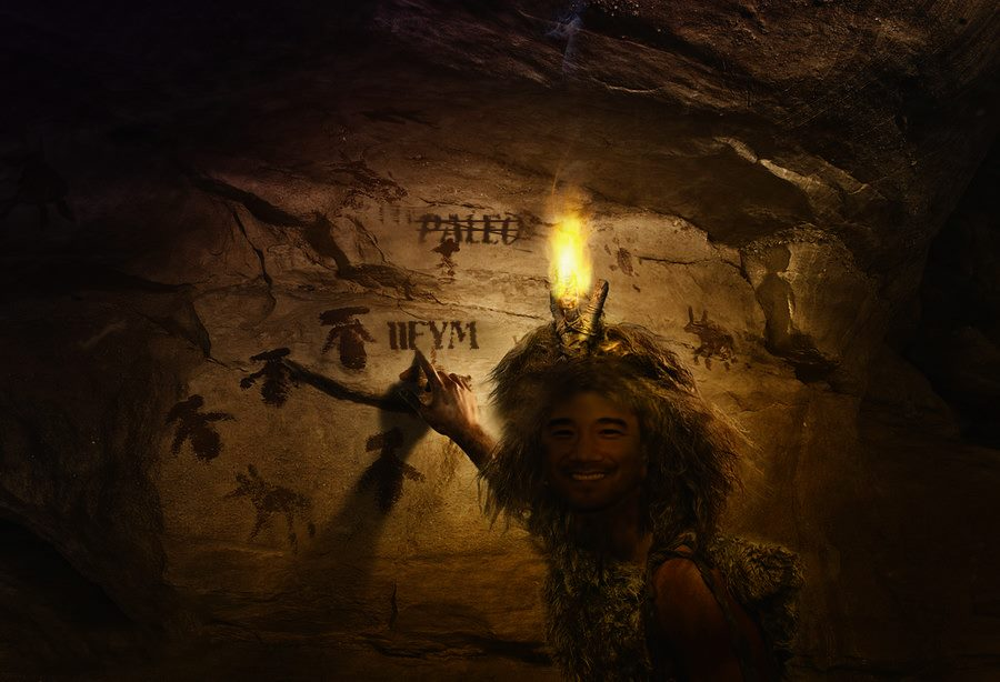Paleo cave drawing